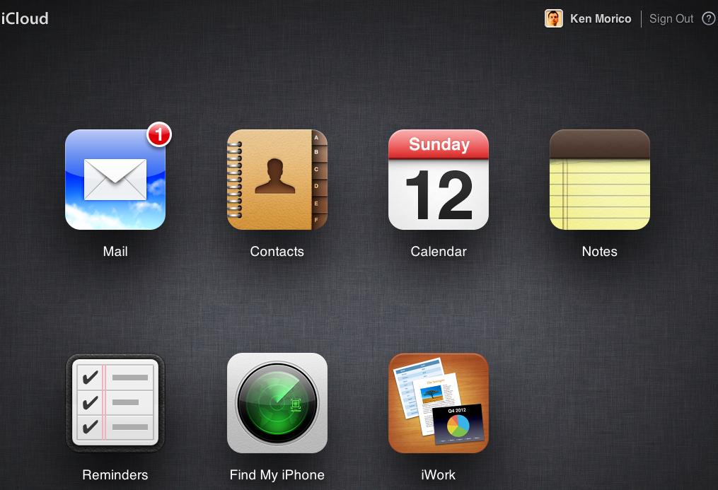 iCloud Web Interface
