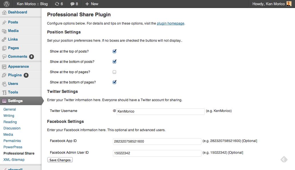 Plugin Settings Screen