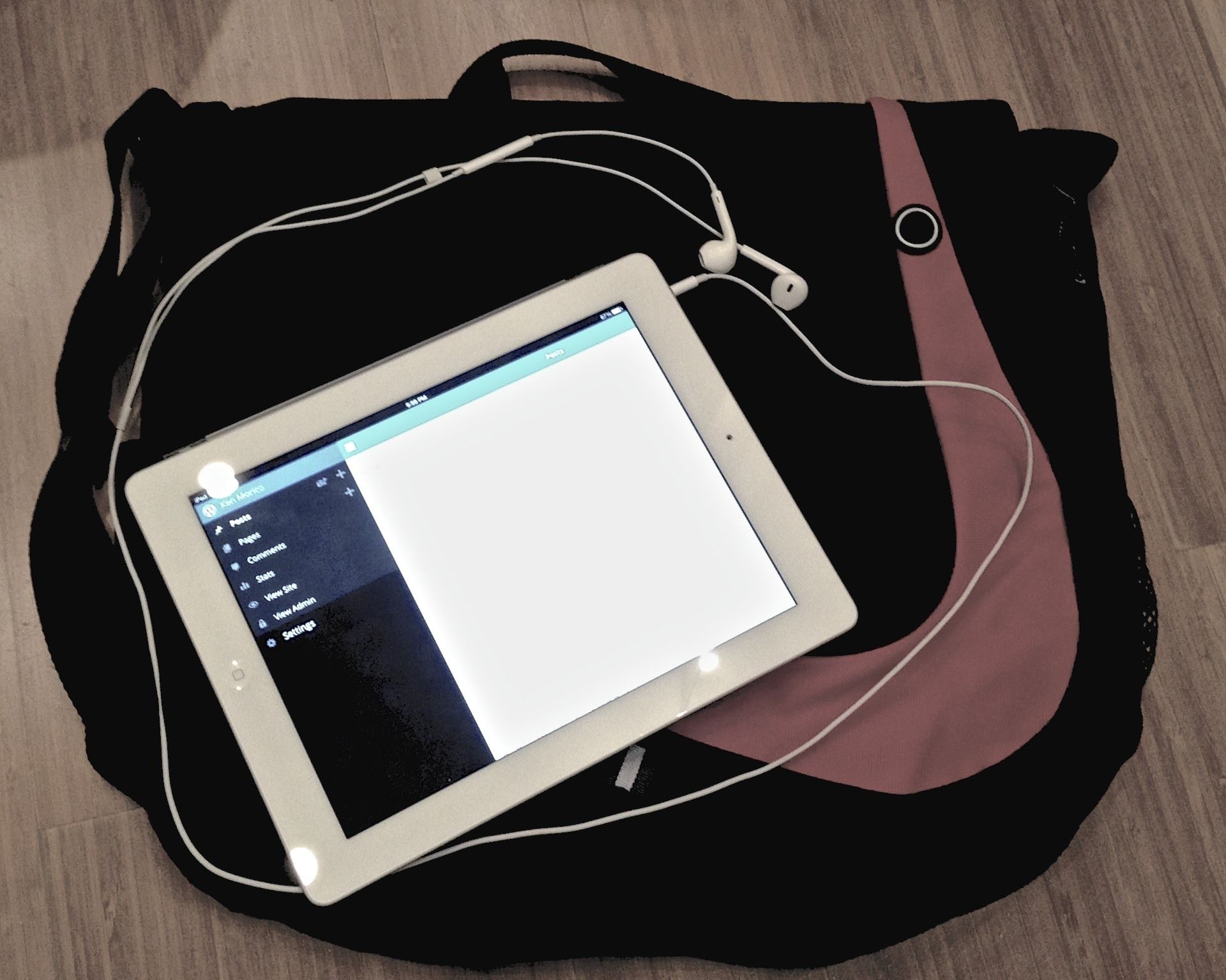 What's in my bag - iPad, Apple Earbuds, small messenger bag