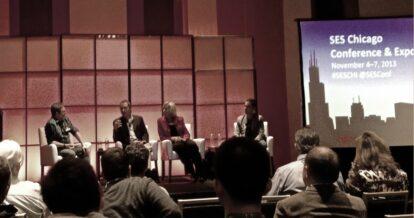Kevin Lee, Daina Middleton, Adam Singer speaking at SES Chicago